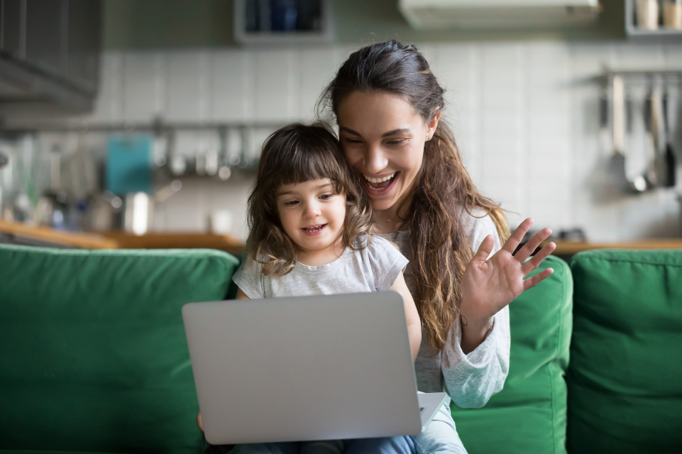 young girl and mother virtual therapy
